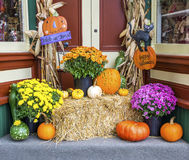 Pumpkins and Other Halloween Decorations Royalty Free Stock Photos