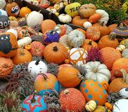 Pumpkins painted by Halloween Stock Images
