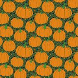 Pumpkins pattern with terrazzo background- green version. Autumn seamless vector pattern with hand drawn pumpkins. Autumn Pumpkin - seamless vector pattern with royalty free illustration