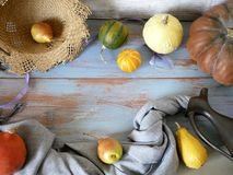 Pumpkins, pears, apples, gray fabric on a light wooden table, concept of cooking for a seasonal home holiday. Harvest, autumn, top view stock photo