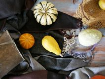 Pumpkins, pears, apples, gray fabric on a light wooden table, concept of cooking for a seasonal home holiday. Harvest, autumn, top view royalty free stock images