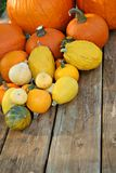 Pumpkins on picnic table Stock Photography