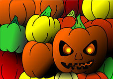 Pumpkins. Picture Hallouween pumpkins with spooky face stock illustration