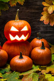 Pumpkins pile with autumn leaves Stock Photography