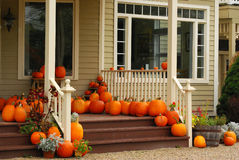 Pumpkins on Porch Royalty Free Stock Image