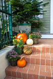Pumpkins on the porch Royalty Free Stock Image