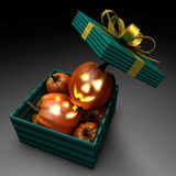 Pumpkins in present box Royalty Free Stock Photo