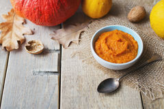Pumpkins puree with over tableware and vegetable. Stock Image