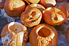 Pumpkins at Recycling Depot. Pumpkins and jack-o-lanterns are waiting at the community recycling depot to be taken away and be recycled for compost Royalty Free Stock Photography