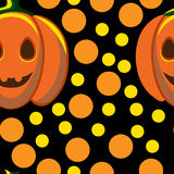 Pumpkins and rounds on black Royalty Free Stock Images