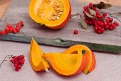 Pumpkins and Rowanberry. Autumn Still Life: sliced pumpkins and rowanberries royalty free stock photography