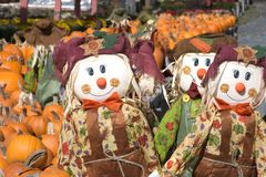 Pumpkins and Scarecrows. Autumn Display of Pumpkins and Scarecrows Stock Photo