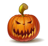 Pumpkins Scary 2. Cartoon vector illustration of a Jack-O-Lantern pumpkin curved in a scary expression,  on white. Neatly organized and easy to edit EPS-10 Royalty Free Stock Photography