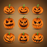 Pumpkins. Set of Scary Halloween Pumpkins, vector illustration Royalty Free Stock Photography