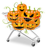 Pumpkins in a shopping cart. Shopping cart filled with halloween pumpkins Stock Images