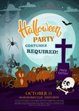 Pumpkins, skull, and cemetery. Halloween party flyer. stock illustration