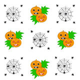 Pumpkins with spiders on white background Royalty Free Stock Image