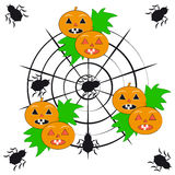 Pumpkins with spiders on white background Royalty Free Stock Images