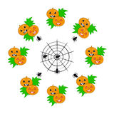 Pumpkins with spiders on white background Royalty Free Stock Photos