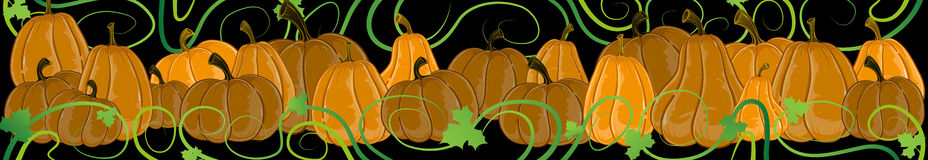 Pumpkins with sprouts and leaves on a black Stock Image