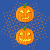 Pumpkins. In the starry blue background Royalty Free Stock Photos