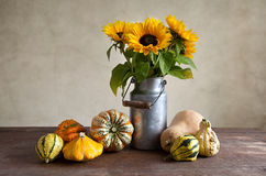 Pumpkins and Sunflowers Stock Photography
