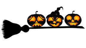 Pumpkins on a sweeper Royalty Free Stock Photography
