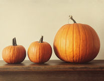Pumpkins on a table Stock Photo