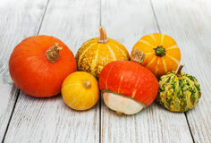 Pumpkins on the table Royalty Free Stock Photos