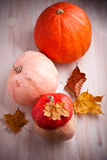 Pumpkins on the table Stock Images