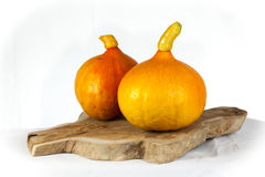 Pumpkins on a table. Two pumpkins on a wooden plate on a table Royalty Free Stock Photography