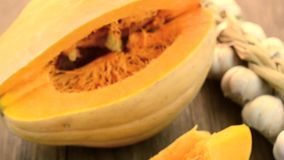 Pumpkins on the table stock footage
