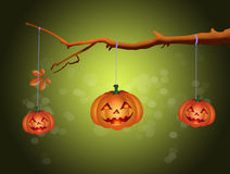 Pumpkins on tree for Halloween Royalty Free Stock Photo