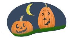 Pumpkins. Two Jack O' Lantern pumpkins on grass against a moonlit sky vector illustration
