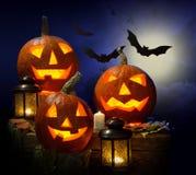 Pumpkins and vampire - bat Royalty Free Stock Photography
