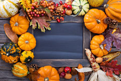 Pumpkins and variety of squash. Aroun a chalkboard Royalty Free Stock Photo