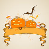 Pumpkins and vintage banner Royalty Free Stock Photography