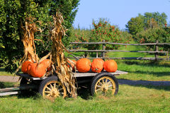 Pumpkins on a Wagon Royalty Free Stock Photos