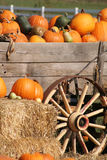 Pumpkins in Wagon Stock Photography