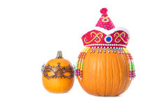 Pumpkins Wearing Hat and Mask #1 Stock Images