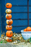 Pumpkins welcome sign decorations Royalty Free Stock Photography