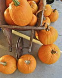Pumpkins and Wheelbarrow Stock Photos