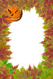 Pumpkins on white background with fall leaves Royalty Free Stock Photo