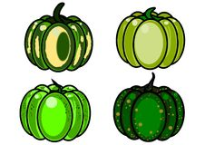4 pumpkins on a white background. Four green pumpkins halloween Stock Photo