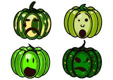 4 pumpkins on a white background. Four green pumpkins halloween make grimaces Royalty Free Stock Image