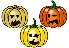 3 pumpkins on a white background. Three pumpkins for halloween isolated on white background Royalty Free Stock Images
