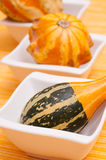 Pumpkins in white bowls Stock Photography