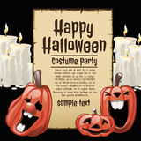 Pumpkins and white candles with card Stock Photo