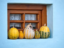 Pumpkins in the window Royalty Free Stock Photo