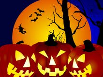 Pumpkins, witch and bats Royalty Free Stock Photos